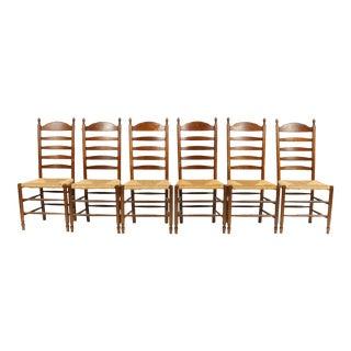 Vintage Dutch Farmhouse-Style Ladder Back Chairs, S/6