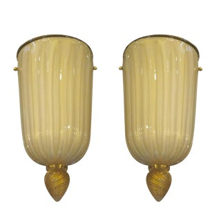 Pair of Large Murano Glass Sconces Attributed to Barovier e Toso