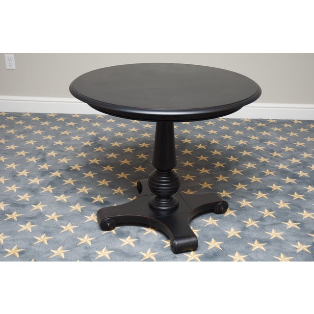 Ethan Allen New Country Black Pedestal Side Table - Image 2 of 4