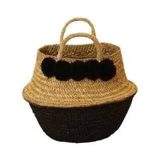 Panier Sea Grass Belly Basket With Black Pom Poms