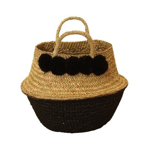 Image of Panier Sea Grass Belly Basket With Black Pom Poms