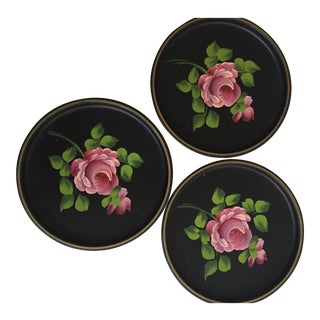 Rose Tole Metal Trays - A Pair