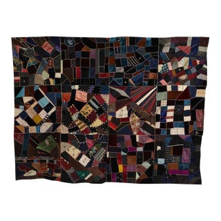 Antique Crazy Quilt Pieced Quilt Top
