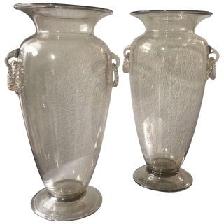 Champagne Tint Venetian Glass Vases - A Pair