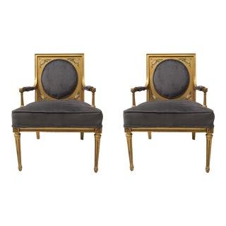 1960s Gilded Italian Armchairs - A Pair