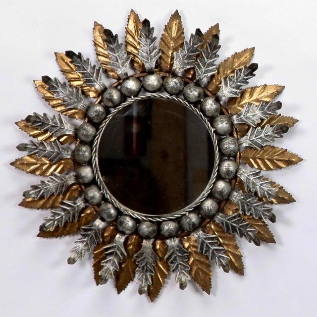 Pair Mid Century Spanish Gilt and Silver Metal Sunburst Mirrors - Image 4 of 9