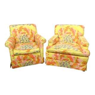 Vintage Hollywood Regency Floral Club Chairs- A Pair