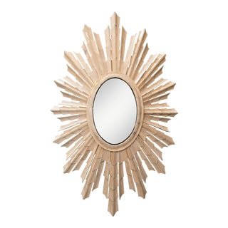 Italian Bone Sunburst Mirror with Convex Glass
