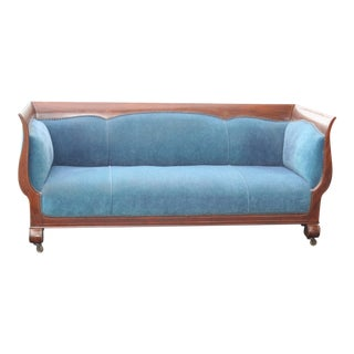 Vintage Blue Upholstered Inlaid Mahogany Sofa