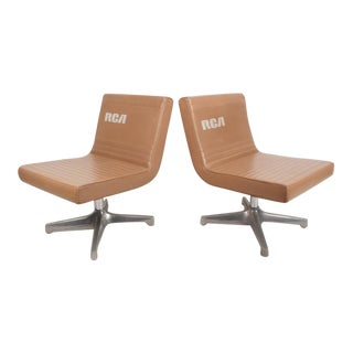 Mid-Century Modern Vinyl Slipper Chairs - A Pair