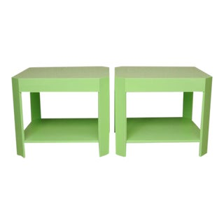 1970's Karl Springer Style Side Tables - A Pair