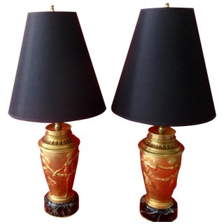 Neoclassical Bronze & Marble Lamps - Pair