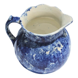 19th Century Sponge Ware Squatty Pottery Pitcher