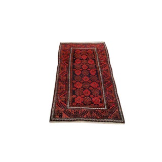 Vintage Traditional Baluch Hand Made Knotted Rug - 3′6″ × 6′2″