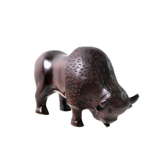 Image of 1950s Hand Carved Hardwood Buffalo Statue