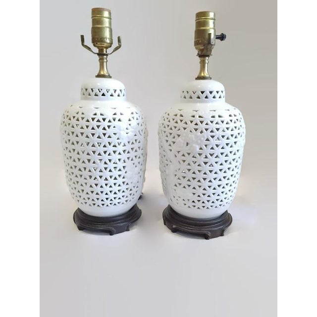 Vintage Pierced Porcelain Ginger Jar Lamps - Image 3 of 10