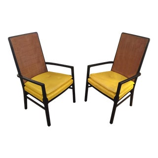 Custom Yellow Vinyl Caned Back Chairs - A Pair