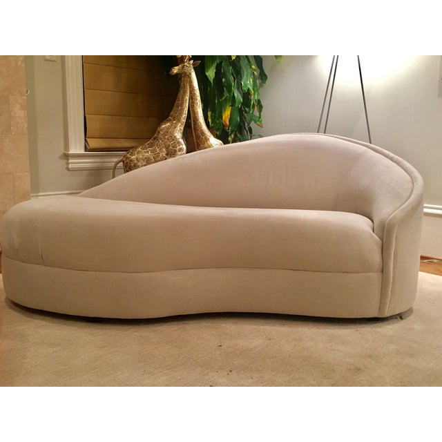 Modern White Suede Sofa Chaises - a Pair - Image 9 of 10