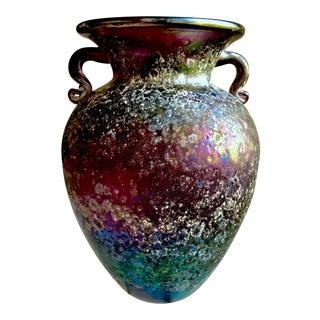Cenedese Mid-Century Scavo Corroso Syle Purple Iridescent Murano Vase