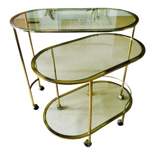 Vintage Triple Tiered Brass Swivel Bar Cart