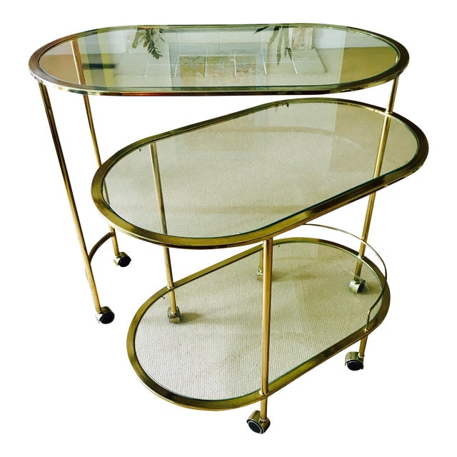Vintage Triple Tiered Brass Swivel Bar Cart - Image 1 of 11