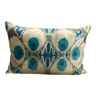 Turquoise Silk Ikat Lumbar Pillow