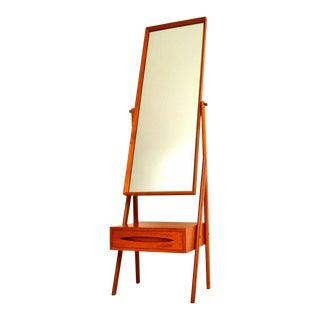 Arne Vodder Danish Modern Teak Cheval Mirror With Drawer