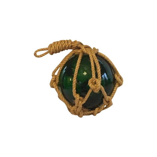 Green Glass Fishing Float with Netting - Image 1 of 7