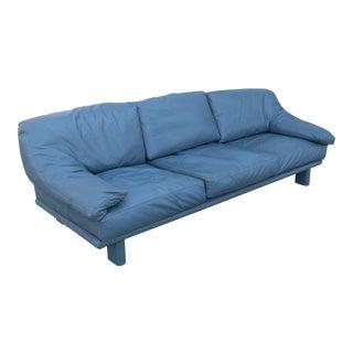 Modern Leather Teal Sofa