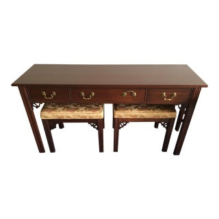 Ethan Allen Georgian Court Table With Benches - Set of 3