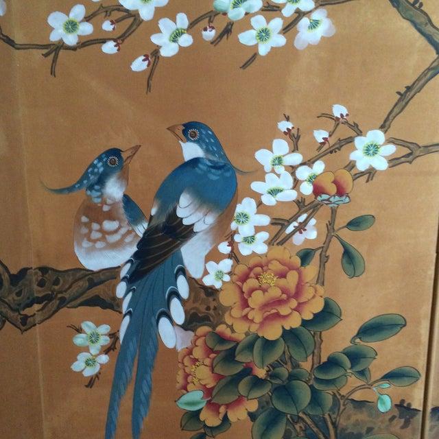 Vintage Four Panel Silk Screen Fancy Birds - Image 5 of 7