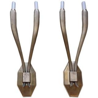 Art Deco Style Brass Sconces After Emile-Jacques Ruhlmann -- Pair