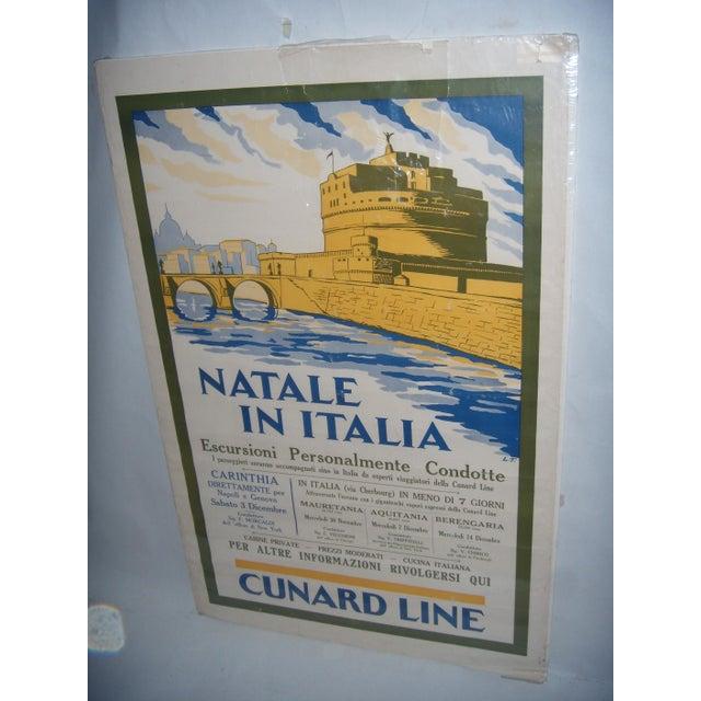Original Vintage Cunard Line Italy Travel Poster - Image 2 of 3