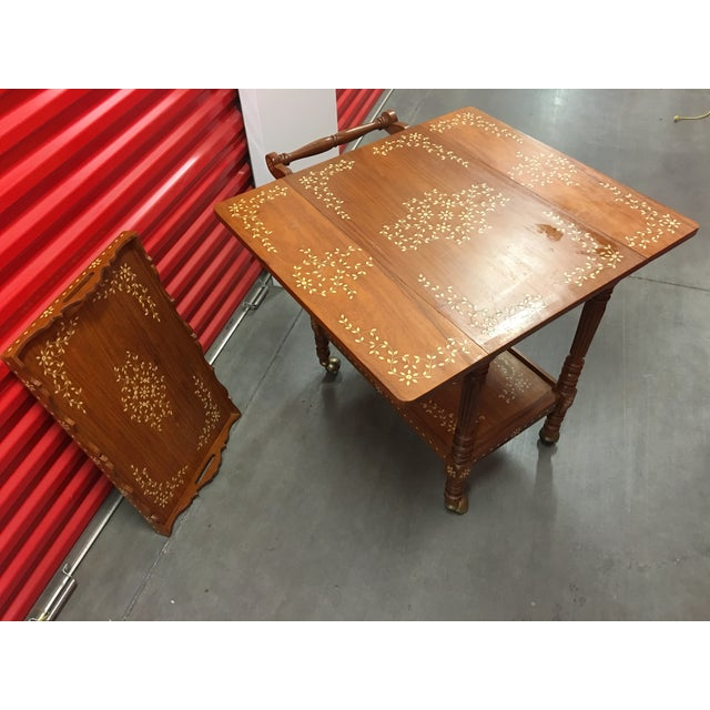 Filipino Drop-Leaf Inlaid Serving Tray Tea Cart - Image 10 of 11