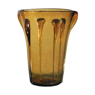 Mid-Century Amber Art Glass Vase in the Style of Empoli Glass