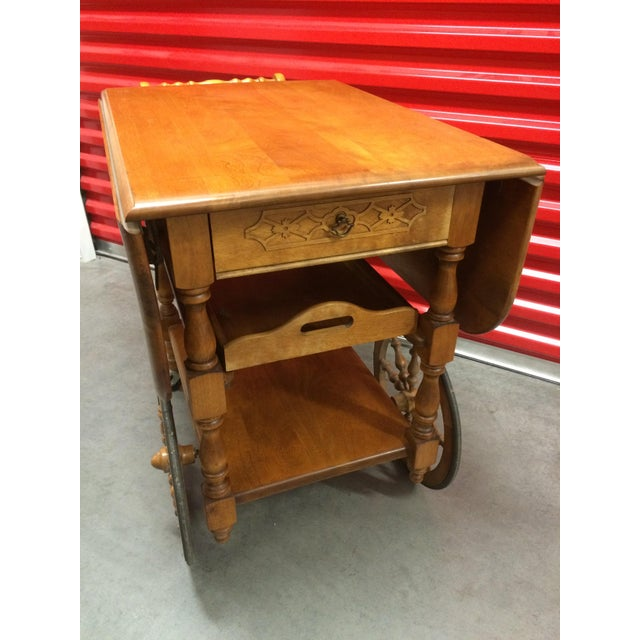 Vintage Solid Maple Drop-Leaf Tea Cart - Image 7 of 7