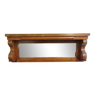 Antique Empire Tiger Oak Carved Back Splash Mantle Mirror