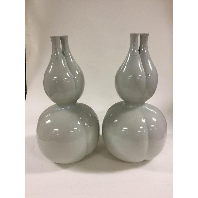 Off White Glazed Gourd Vases - a Pair - Image 2 of 6
