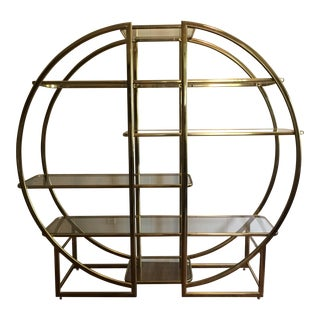 Mid-Century Modern Hollywood Regency Circular Gold Etagere