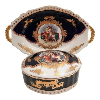 French Sèvres Limoge Style Porcelain Cobalt & 24-Karat Gold Box & Tray - 3 Piece Set