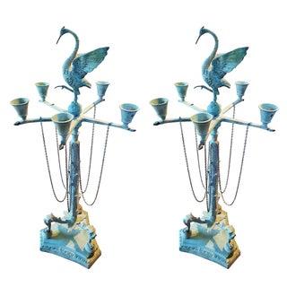 Bronze Five-Light Candelabras - A Pair