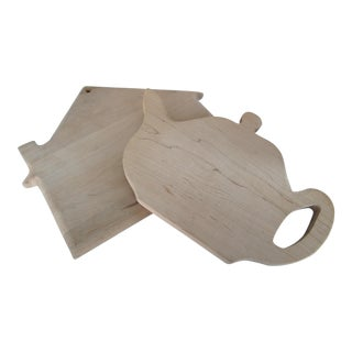 Whimsical House & Teapot Cutting Boards - A Pair
