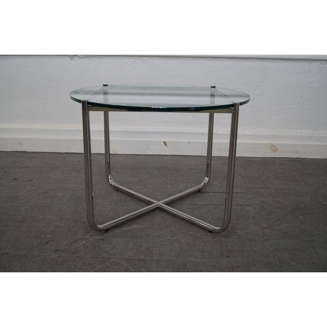 mies van der rohe glass chrome mr table by knoll chairish. Black Bedroom Furniture Sets. Home Design Ideas