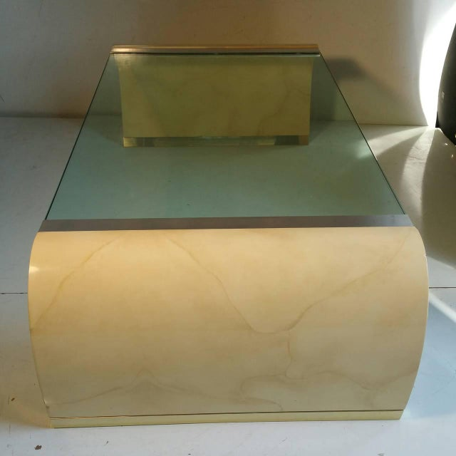 Drexel Lacquer & Glass Waterfall Coffee Table - Image 4 of 7