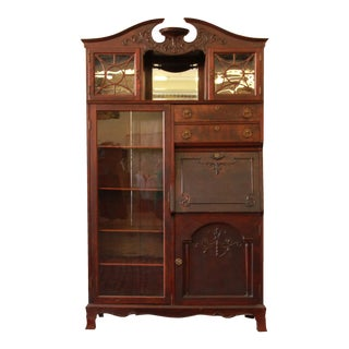 Victorian Mahogany Drop-Front Desk With Bookcase
