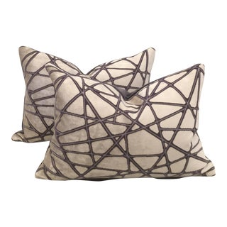 Holly Hunt Silk Velvet Lumbar Pillows - A Pair