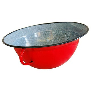 1940s Vintage European Red Enamelware Harvest Bowl