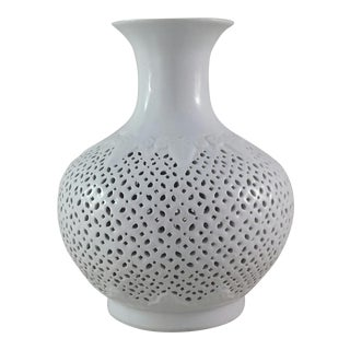 White Cut-Out Chinoiserie Vase
