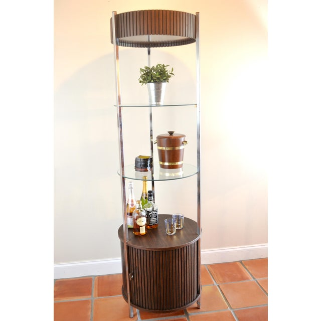 Image of Mid-Century Round Etagere or Curio Cabinet