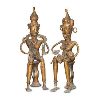 Antique Bronze Pygmy Couple in Pair